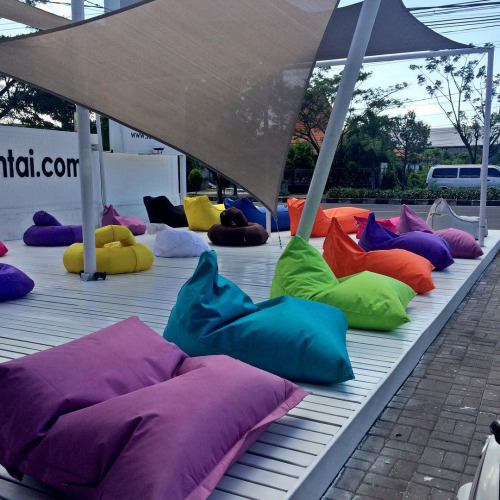 So tempted to buy these cute bean bags for our pool!