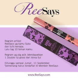 Regram ReeSays Dapat Lip Gloss Anna Sui