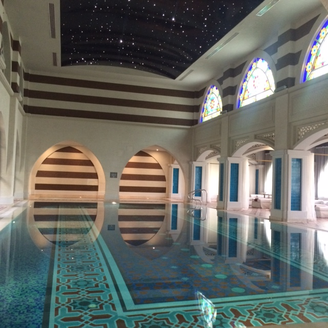 An indoor swimming pool for spa guests. The interior is so pretty.