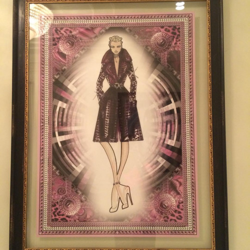 You'll find so many iconic dress sketches of Gianni Versace around the hotel