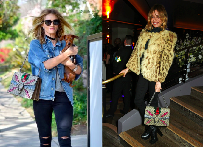 Rosie Huntington-Whiteley dan Sienna Miller dengan Gucci Dionysus bag
