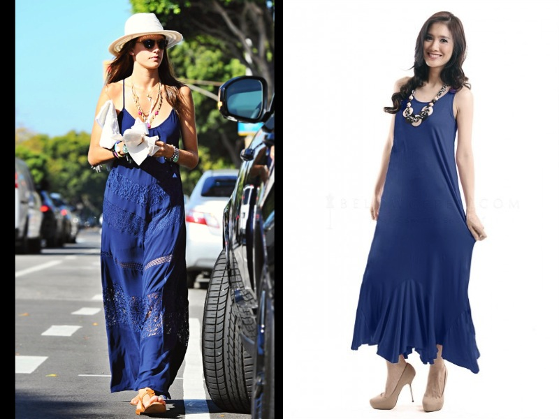 Alessandra Ambrossio looking pretty in blue maxi dress