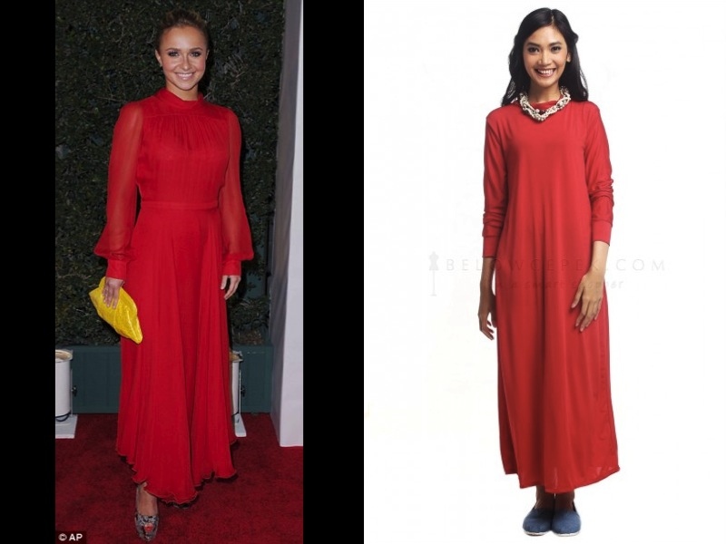 Nice classic-looking maxi dress by Hayden Panettiere
