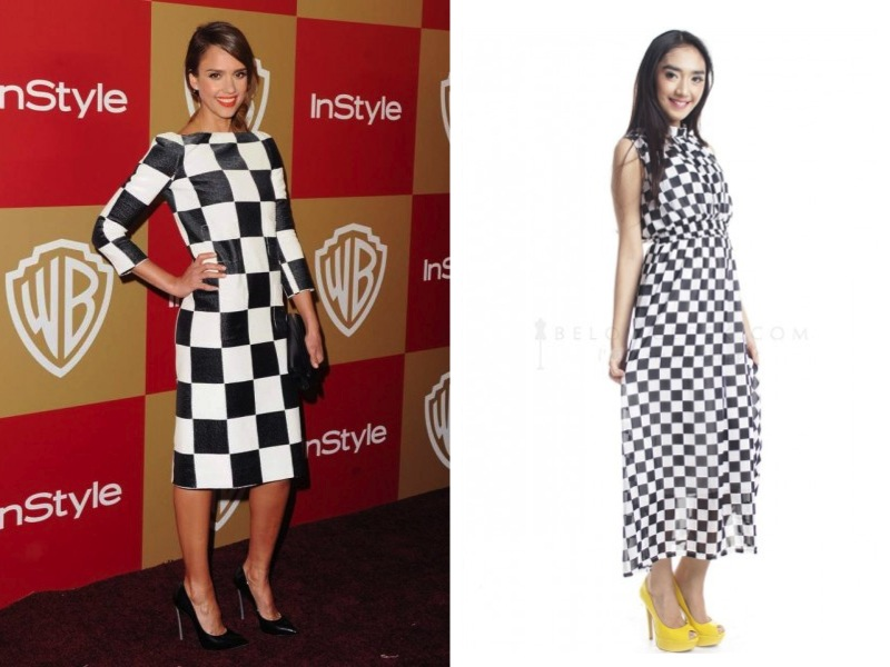 This chequered dress looks fun on Jessica Alba!
