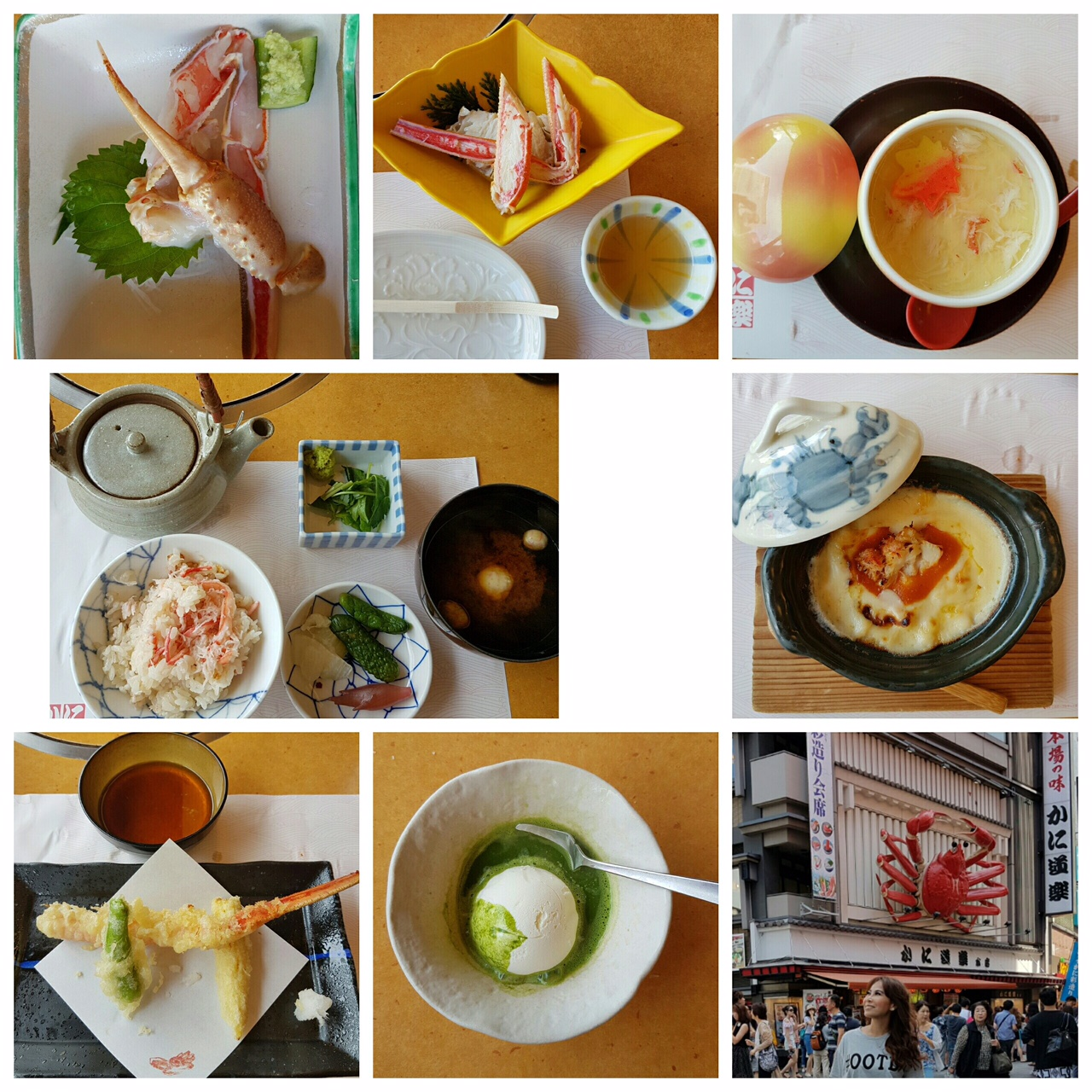 Cholesterol galore! Started with 6-course with so many style of cooking King Crab (boil, sashimi, chawan mushi, baked, cooked, with rice and tempura), ended with vanilla ice cream, poured with thick green tea. 1 set = ¥3880 = Rp540.400.