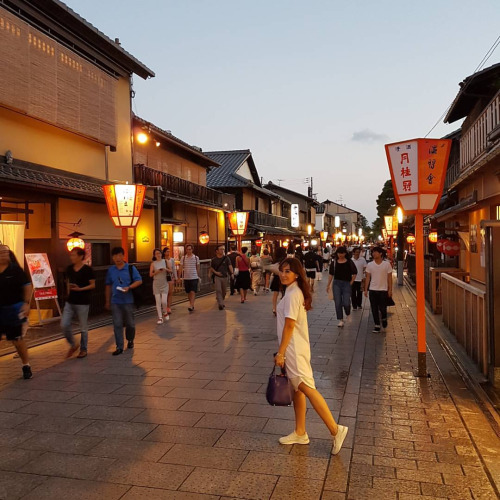 A busy street in Gion. If you're lucky, you can meet real Geisha here!