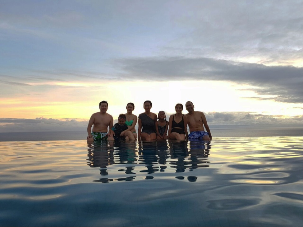 Nothing beats this feeling. Swimming with besties, with sunset as our background.