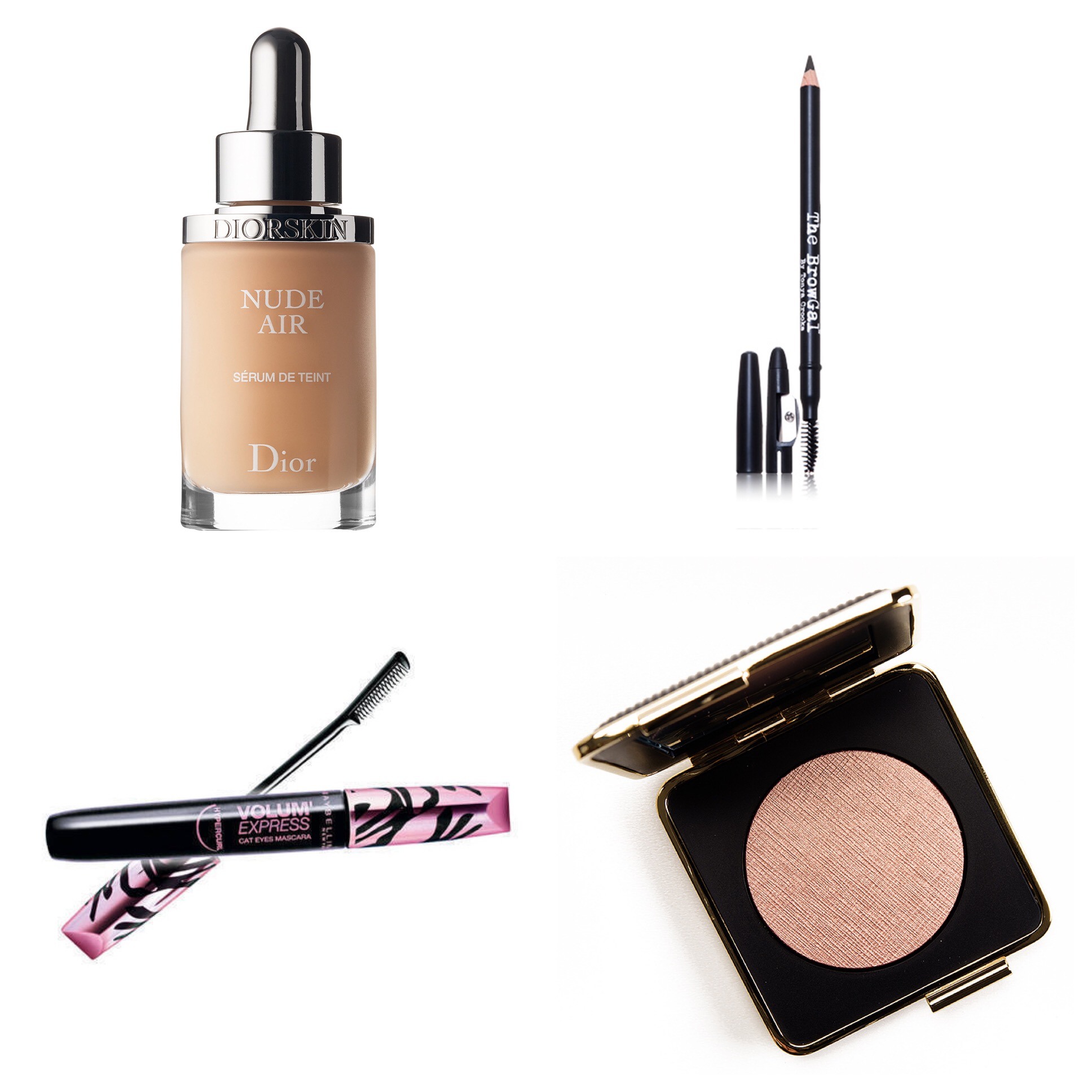 Some of Hani's daily must-haves (clockwise): DiorSkin Nude Air Serum, The BrowGal Skinny Eyebrow Pencil, Maybelline Volum Express Cay Eyes Mascara, Victoria Beckham x Estee Lauder Modern Mercury Highlighter.