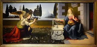Annunciation by Leonardo da Vinci and Andrea del Verrocchio. Photo: Uffizi Gallery.